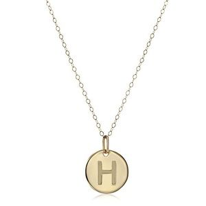 "14k yellow gold disc letter ""H"" pendant"